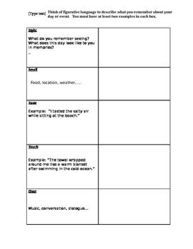Personal Narrative Writing Assignment: Sensory Details