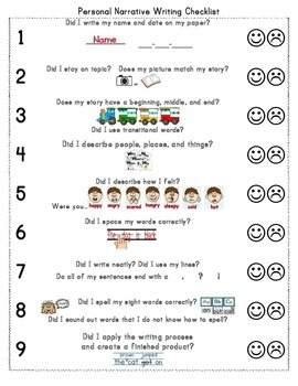 Personal Narrative Writing Checklist and Rubric