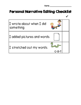 Personal Narrative Writing Checklist for K-1 (scaffolded)