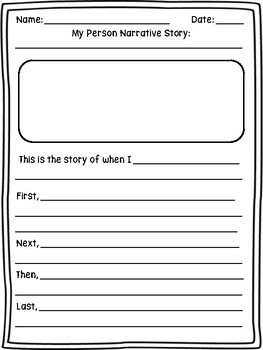 Personal Narrative Writing Choice Board and Writing Paper