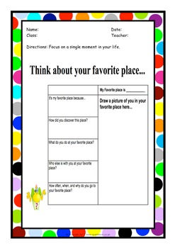 Personal Narrative Writing Organizers! Great for Creative writing