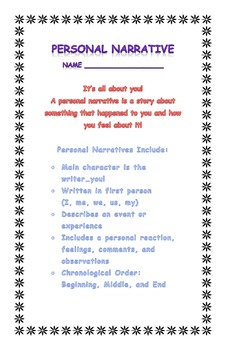 Personal Narrative Writing Outline
