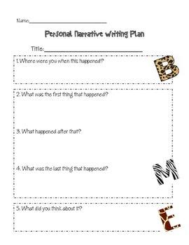 Jungle Themed Personal Narrative Writing Plan