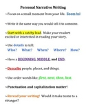 Personal Narrative Writing Poster, Writing Poster, Writing Journal