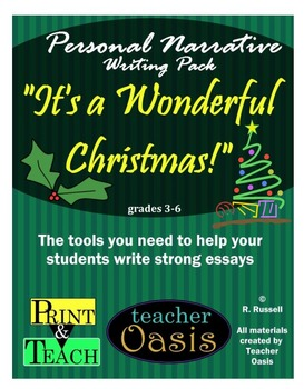 """Personal Narrative Writing Prompt """"It's a Wonderful Christmas!"""""""