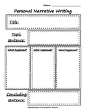 Personal Narrative Writing Rough Draft Worksheet