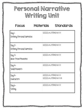 Personal Narrative Writing Unit (CCSS Aligned 3rd/4th grade) BONUS BUY!