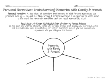 Personal Narrative Writing Unit - Graphic Organizers & Mini-Lessons