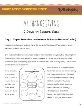 My Thanksgiving: A Personal Narrative Writing Unit for 2nd & 3rd Graders