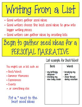 Personal Narrative Writing Unit of Study - Elementary Writing Workshop