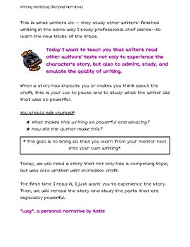 Personal Narrative Writing Workshop Sessions 3 - 8