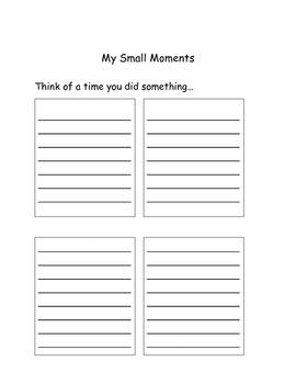 Personal Narrative/Small Moments Organizers