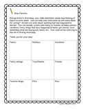Personal Narratives Topic List and Writing Checklist