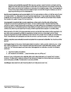 Personal Odyssey Essay (Narrative)