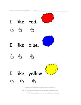 Personal Predictable Reading Chart (sight words: I, Like, primary color words)