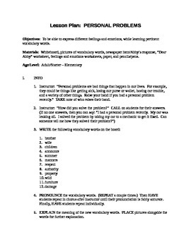 Personal Problems Lesson Plan + Worksheet