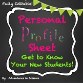 Personal Profile Sheets– Get to Know Your New Students {Fu