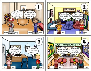 Personal Pronouns Comic Strip Task Cards