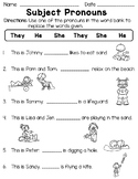Personal Pronouns: Subject and Object Pronouns Worksheets