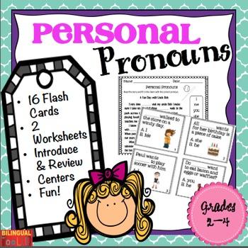 Personal Pronouns Task Cards Grades 2-4