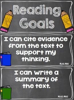 Reading Goals Clip Chart - 6th Grade
