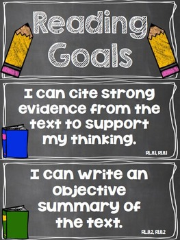 Reading Goals Clip Chart - 8th Grade