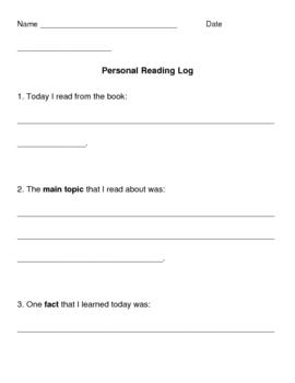 Personal Reading Log