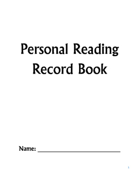 Personal Reading Record Book