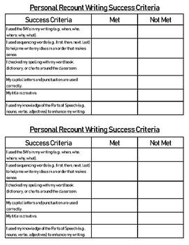 Personal Recount Success Criteria