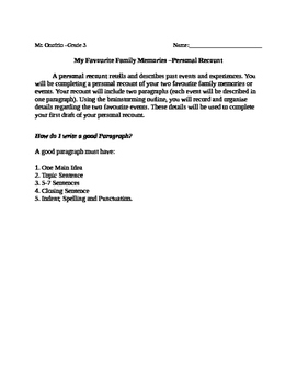 Personal Recount and Paragraph Writing