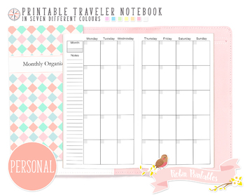 Personal Regular Monthly Organizer Traveler Notebook Refill