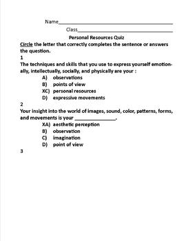 Personal Resources Quiz