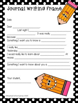 Personal Writing Journal (Writing Frame and Sentence Stems Handout)