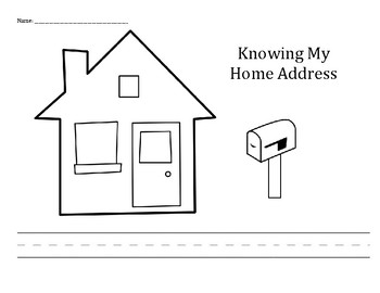 Personal Safety: Knowing My Home Address children / student practice printable