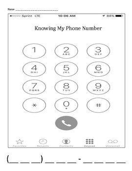 Personal Safety: Knowing My Phone Number children / student practice printable