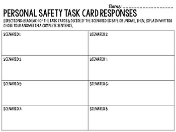 Personal Safety Scenario Task Cards