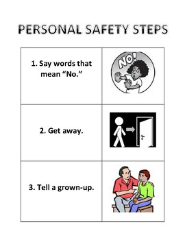 Personal Safety Steps: Say words that mean no, Get away, Tell a grown-up poster