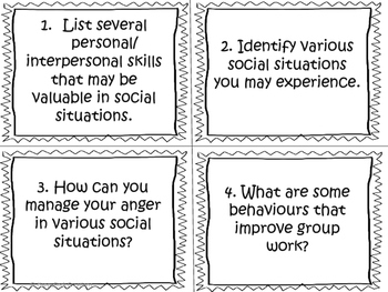 Personal Safety and Injury Prevention Task Cards (Grade 6)