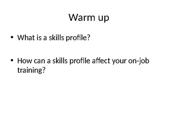Personal Skills/Interests and Employment Skills Notes