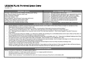 Personal Space Camp - Complete Lesson Plan and Activity