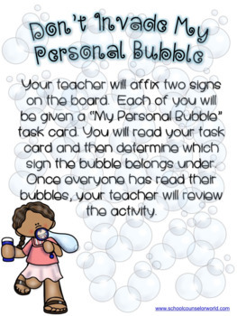 Personal Space Guidance Lesson for Grades K-1