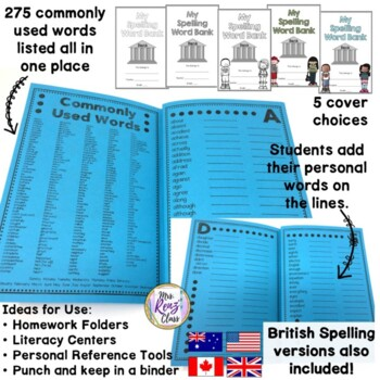 Personal Spelling Dictionary - Individual Spelling Book for Grades 3-5