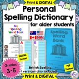 Personal Spelling Dictionary for Older Students -PRINT & D