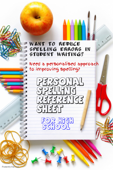 Personal Spelling Reference Sheet for High School