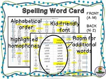 Spelling Resource
