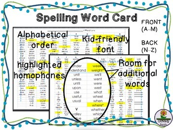 Spelling Resource