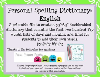 Personal Student Dictionary: English Version with Fry Words