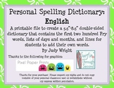 Personal Student Dictionary: English Version with Dolch Words