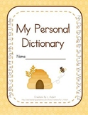Personal Student Dictionary (Honey Bee Theme)