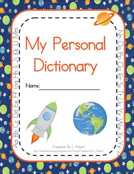 Personal Student Dictionary (Space - Rocket Theme)